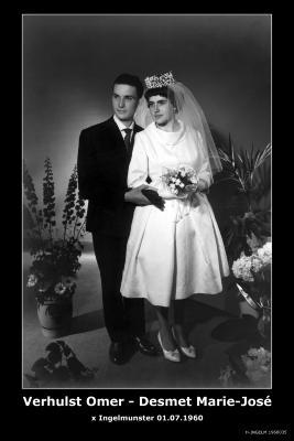 Huwelijksfoto Omer Verhulst - Marie-José Desmet, Ingelmunster, 1960