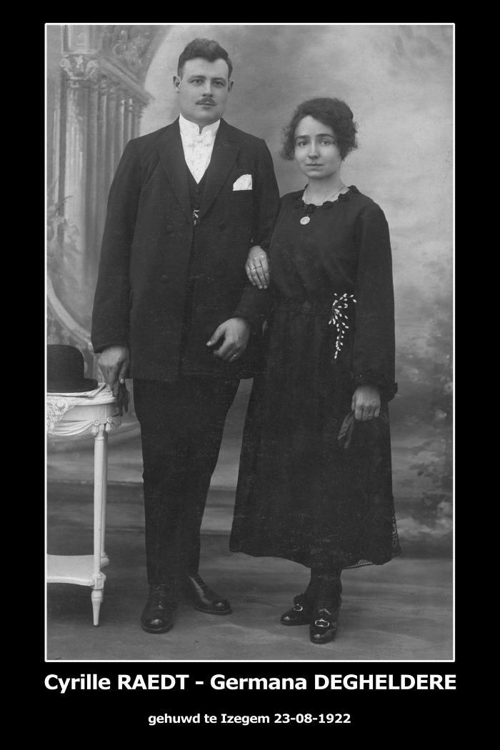 Huwelijksfoto Cyrille Raedt - Germana Degheldere , Izegem, 1922