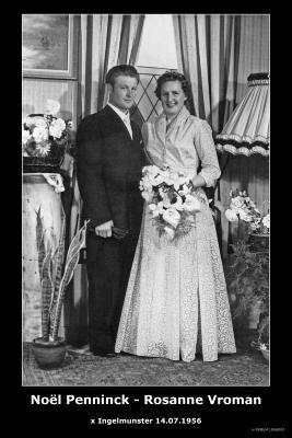 Huwelijksfoto Noël Penninck - Rosanne Vroman, Ingelmunster, 1956