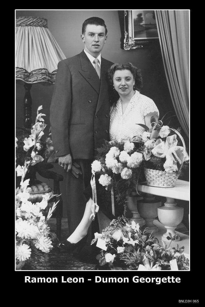 Huwelijksfoto Leon Ramon - Georgette Dumon , Izegem, 1954