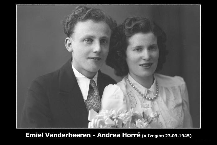 Huwelijksfoto Emiel Vanderheeren - Andrea Horré , Izegem, 1945