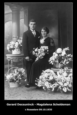 Huwelijksfoto Gerard Deceuninck - Magdalena Scheldeman, Roeselare, 1935