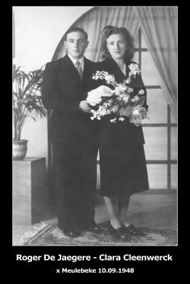 Huwelijksfoto Roger De Jaegere - Clara Cleenwerck, Meulebeke, 1948