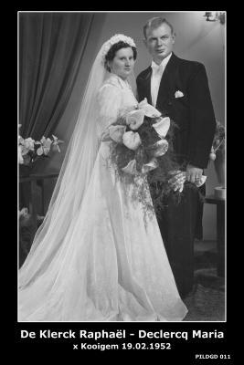 Huwelijksfoto Raphaël De Klerck - Maria Declercq , Kooigem , 1952