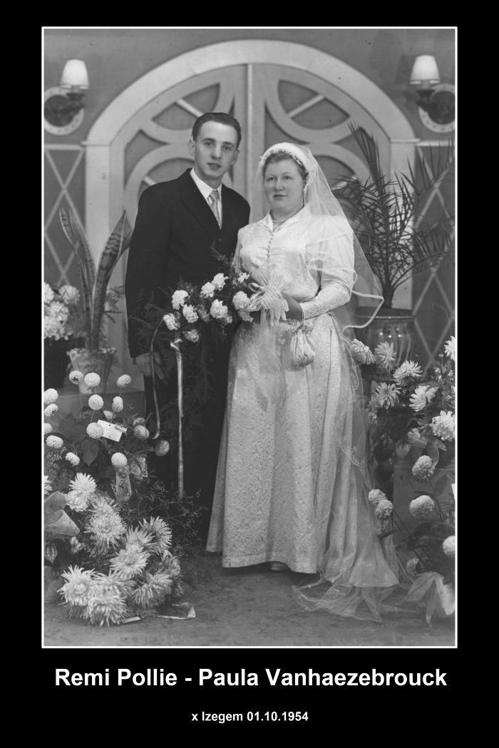 Huwelijksfoto Remi Pollie - Paula Vanhaezebrouck , Izegem, 1954