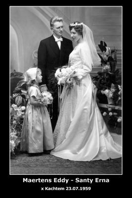 Huwelijksfoto Eddy Maertens - Erna Santy , Kachtem , 1959