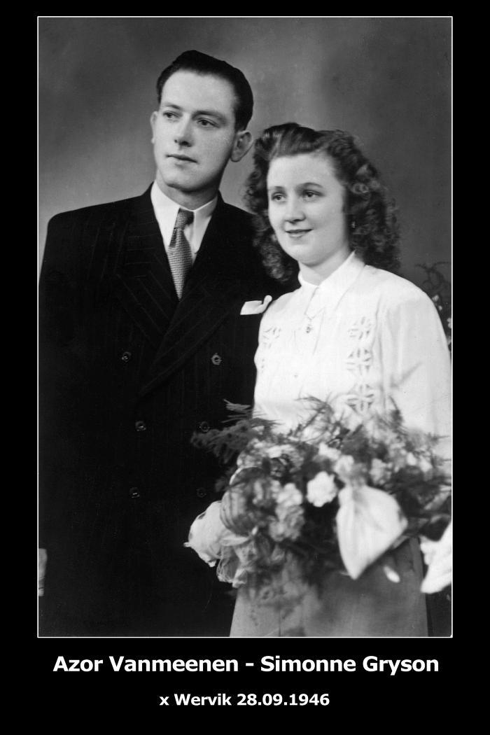Huwelijksfoto Azor Vanmeenen - Simonne Gryson, Wervik, 1946