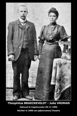 Huwelijksfoto Theophilus Braeckeveldt - Julia Vroman, Ingelmunster, 1896