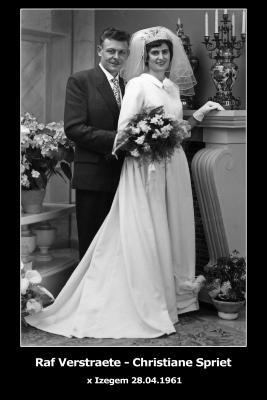 Huwelijksfoto Raf Verstraete - Christiane Spriet , Izegem, 1961