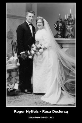 Huwelijksfoto Roger Nyffels - Rosa Declercq, Rumbeke, 1962