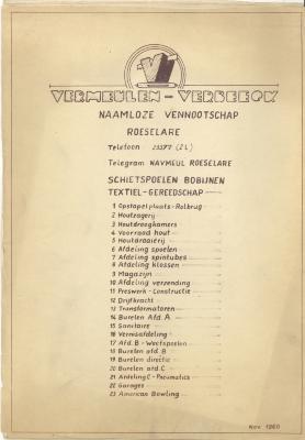 Grondplan Vermeulen-Verbeeck met uitleg, naamloze vennootschap, Roeselare.