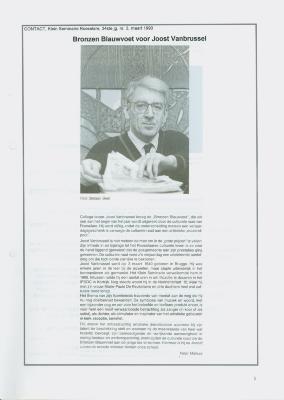"""Artikel uit Contact, Klein Seminarie Roeselare, maart 1990: """"Bronzen Blauwvoet voor Joost Vanbrussel""""."""