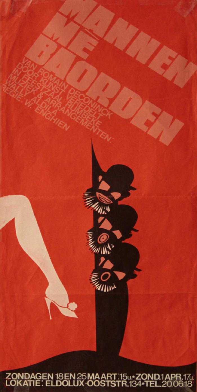 """Affiche van de Musicalopvoering """"Mannen mè boarden""""  door het  Roeselaars Koninklijk Lyrisch Gezelschap """"Kunst Veredelt"""", Roeselare, 1979"""