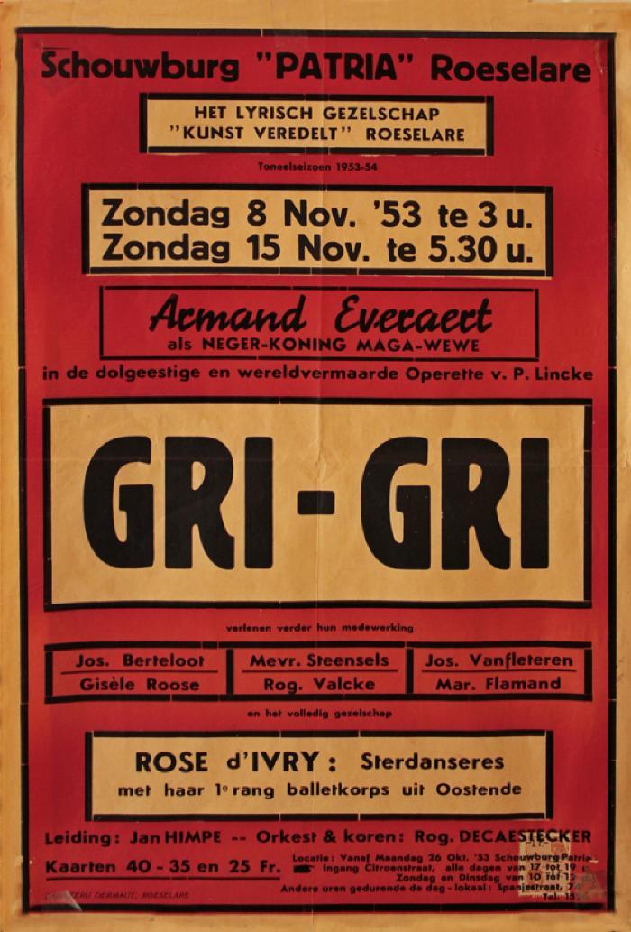 """Affiche van de Toneel- en Operetteopvoering """"Gri-gri"""" door het  Roeselaars Operettegezelschap """"Kunst Veredelt"""", Roeselare, 1953"""