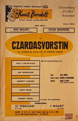 """Affiche van de Toneel- en Operetteopvoering """"Czardavorstin""""  door het  Roeselaars Koninklijk Lyrisch Gezelschap """"Kunst Veredelt"""", Roeselare, 1964"""