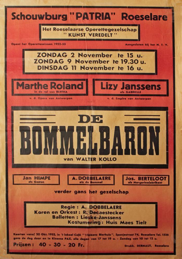 """Affiche van de Toneel- en Operetteopvoering """"De Bommelbaron"""" door het  Roeselaars Operettegezelschap """"Kunst Veredelt"""", Roeselare, 1952"""