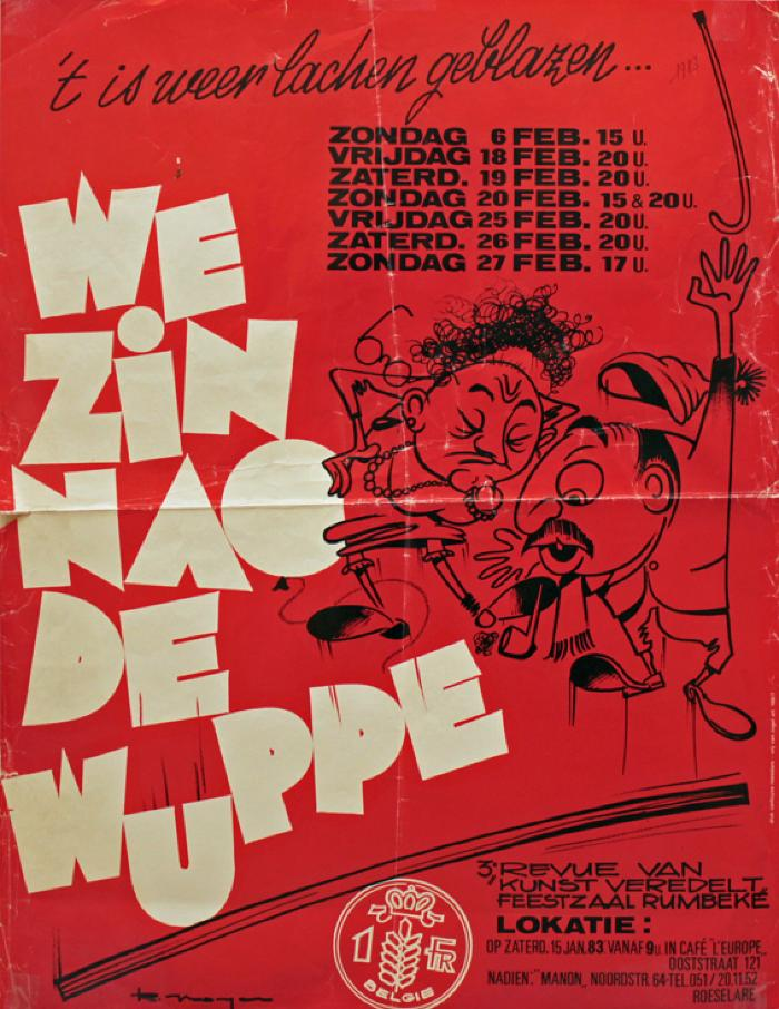 """Affiche van de derde Roeselaarse revue """"We zin noa de wuppe"""" door het  Roeselaars Lyrisch Gezelschap """"Kunst Veredelt"""", Roeselare, 1983"""