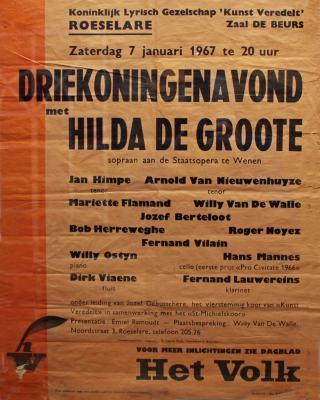 """Affiche van de Toneel- en Operetteopvoering """"Driekoningenavond""""  door het  Roeselaars Koninklijk Lyrisch Gezelschap """"Kunst Veredelt"""", Roeselare, 1967"""