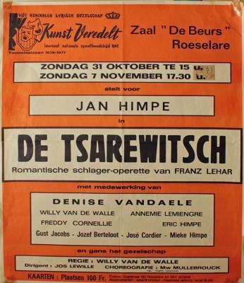 """Affiche van de Toneel- en Operetteopvoering """"De Tsarewitsch""""  door het  Roeselaars Koninklijk Lyrisch Gezelschap """"Kunst Veredelt"""", Roeselare, 1976"""