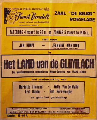 """Affiche van de Toneel- en Operetteopvoering """"Het land van de glimlach""""  door het  Roeselaars Koninklijk Lyrisch Gezelschap """"Kunst Veredelt"""", Roeselare, 1972"""