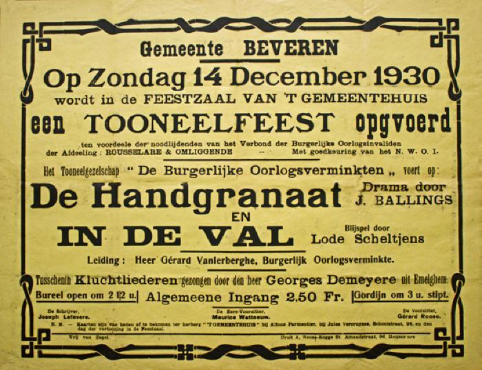 """Toneelfeest toneelgezelschap """"de burgerlijke oorlogsverminkten"""", Beveren, 1930"""