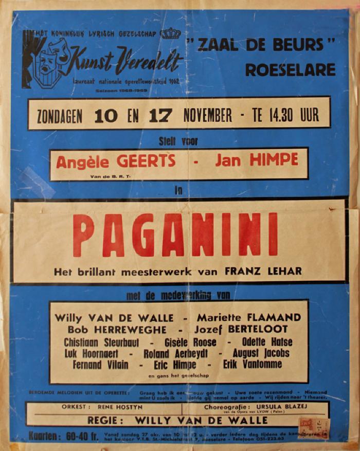 """Affiche van de Toneel- en Operetteopvoering """"Paganini""""  door het  Roeselaars Koninklijk Lyrisch Gezelschap """"Kunst Veredelt"""", Roeselare, 1968"""