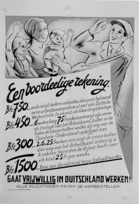 """Affiche """"Een voordelige rekening. Gaat vrijwillig in Duitschland werken"""", WOII."""