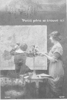 """Affiche """"Petit père se trouve ici"""", WOII."""