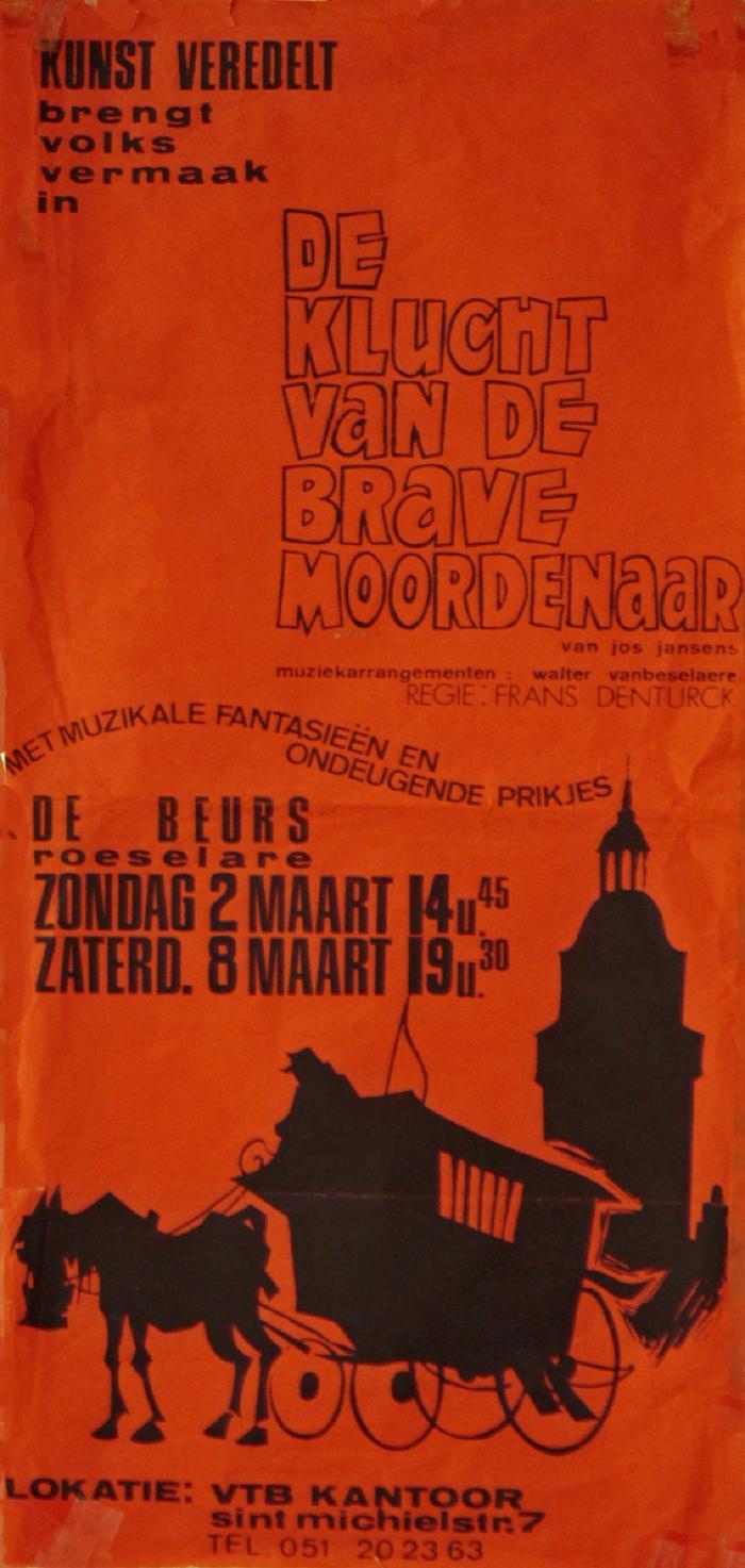 """Affiche van de Toneel- en Operetteopvoering """"Clivia""""  door het  Roeselaars Koninklijk Lyrisch Gezelschap """"Kunst Veredelt"""", Roeselare, 1975"""