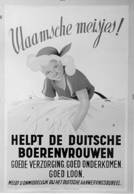 "Affiche ""Vlaamsche meisjes helpt de Duitsche Boerenvrouwen"", WOII."