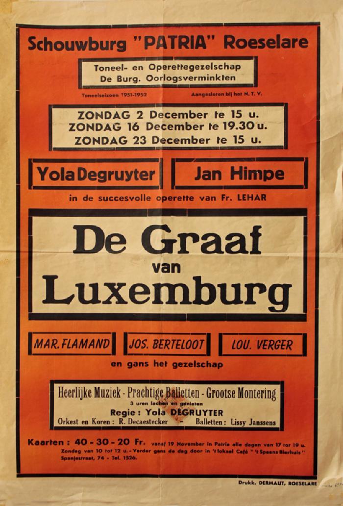 """Affiche van de Toneel- en Operetteopvoering """"De Graaf van Luxemburg"""" door het  Toneel- en Operettegezelschap """"de Burgerlijke Oorlogsverminkten"""", Roeselare, 1951"""
