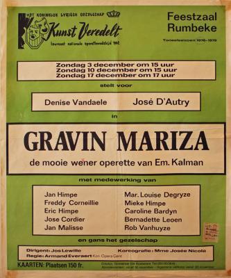 """Affiche van de Toneel- en Operetteopvoering """"Gravin Mariza""""  door het  Roeselaars Koninklijk Lyrisch Gezelschap """"Kunst Veredelt"""", Roeselare, 1978"""