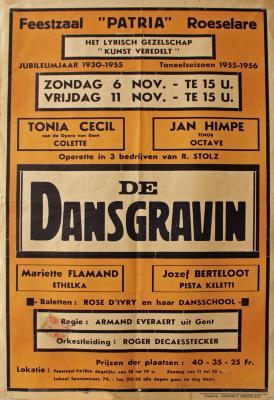 """Affiche van de Toneel- en Operetteopvoering """"De dansgravin"""" door het  Roeselaars Lyrisch Gezelschap """"Kunst Veredelt"""", Roeselare, 1954"""