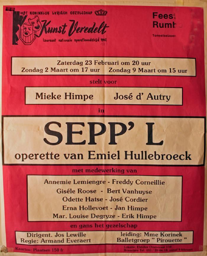 """Affiche van de Operetteopvoering """"Sepp'l"""" door het  toneel- en operettegezelschap """"Kunst veredelt"""", Roeselare, 1980"""