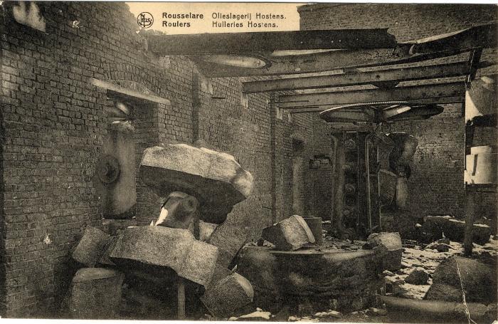 Olieslagerij Hostens in puin