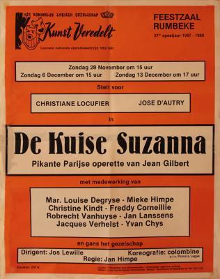 """Affiche van de Toneel- en Operetteopvoering """"De Kuise Suzanna"""" door het  Roeselaars Lyrisch Gezelschap """"Kunst Veredelt"""", Roeselare, 1987"""
