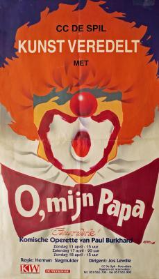 """Affiche van de Toneel- en Operetteopvoering """"O mijn papa - Feuerwerk"""" door het  Roeselaars Lyrisch Gezelschap """"Kunst Veredelt"""", Roeselare, 1999"""