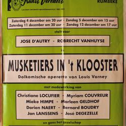 """Affiche van de Toneel- en Operetteopvoering """"Musketiers in het klooster"""" door het  Roeselaars Lyrisch Gezelschap """"Kunst Veredelt"""", Roeselare, 1993"""
