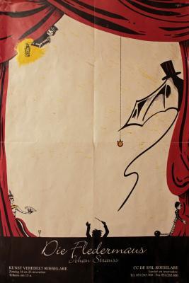"""Affiche van de Toneel- en Operetteopvoering """"Die Fledermaus"""" door het  Roeselaars Lyrisch Gezelschap """"Kunst Veredelt"""", Roeselare, 1997"""