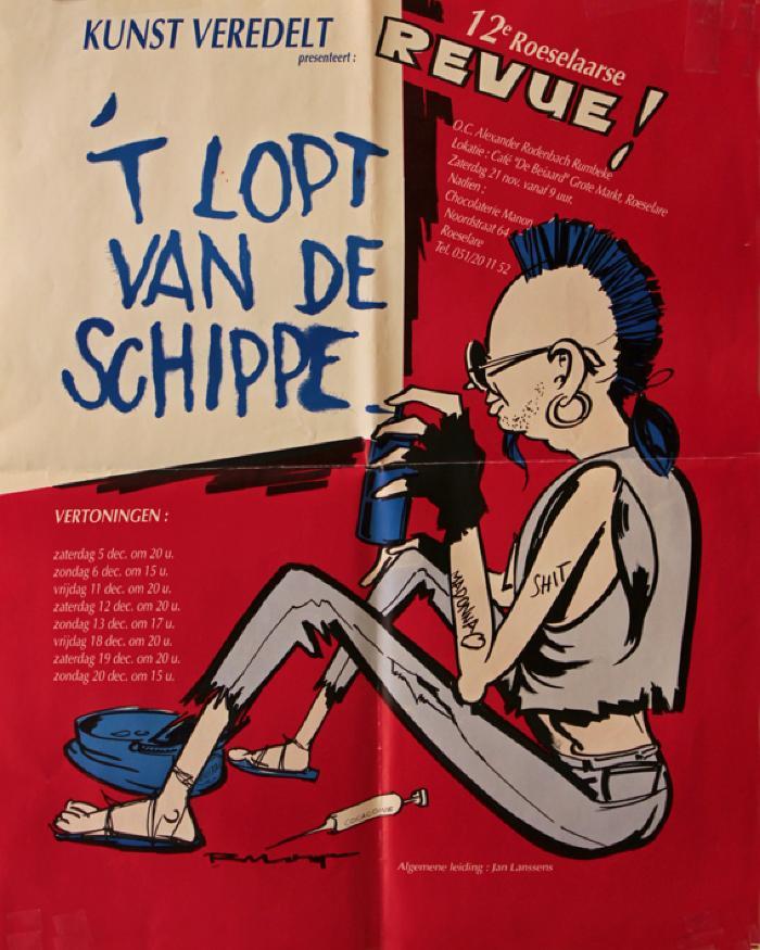 """Affiche van de 12° Roeselaarse Revue opvoering """"'t Lopt van de Schippe"""" door het  Roeselaars Lyrisch Gezelschap """"Kunst Veredelt"""", Roeselare, 1992"""