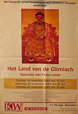 """Affiche van de Toneel- en Operetteopvoering """"Het land van de glimlach"""" door het  Roeselaars Lyrisch Gezelschap """"Kunst Veredelt"""", Roeselare, 2001"""