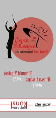 """Affiche van de Toneel- en Operetteopvoering """"Lippen schweigen"""" door het  Roeselaars Lyrisch Gezelschap """"Kunst Veredelt"""", Roeselare, 2018"""