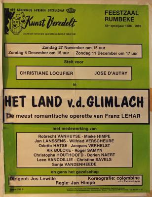 """Affiche van de Toneel- en Operetteopvoering """"Het Land van de Glimlach"""" door het  Roeselaars Lyrisch Gezelschap """"Kunst Veredelt"""", Roeselare, 1988"""