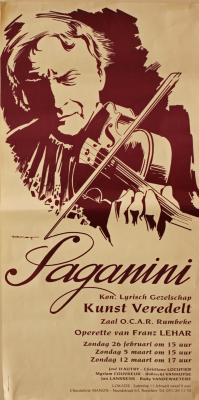 """Affiche van de Toneel- en Operetteopvoering """"Paganini"""" door het  Roeselaars Lyrisch Gezelschap """"Kunst Veredelt"""", Roeselare, 1995"""