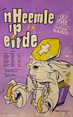 """Affiche van de 10° Roeselaarse Revue opvoering """"'n Heemle ip eirde"""" door het  Roeselaars Lyrisch Gezelschap """"Kunst Veredelt"""", Roeselare, 1989"""