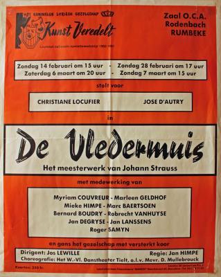 """Affiche van de Toneel- en Operetteopvoering """"De Vledermuis"""" door het  Roeselaars Lyrisch Gezelschap """"Kunst Veredelt"""", Roeselare, 1993"""