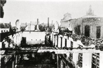Uitgebrande gebouwen van het Klein Seminarie