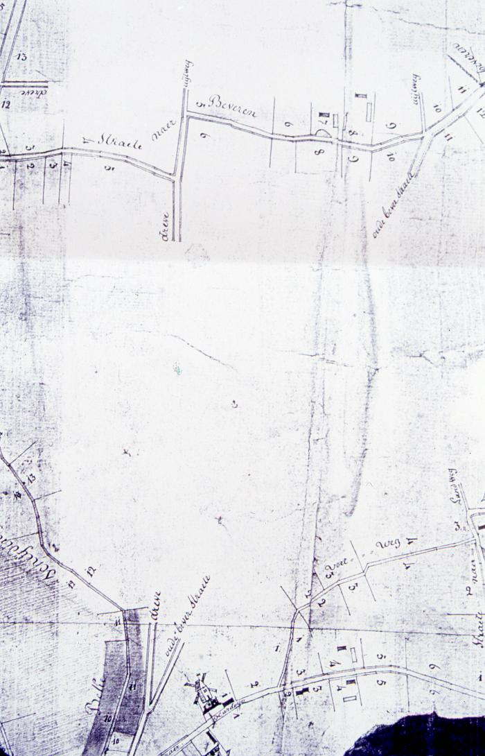 Fragment kaart begin Ardooisesteenweg, 1820