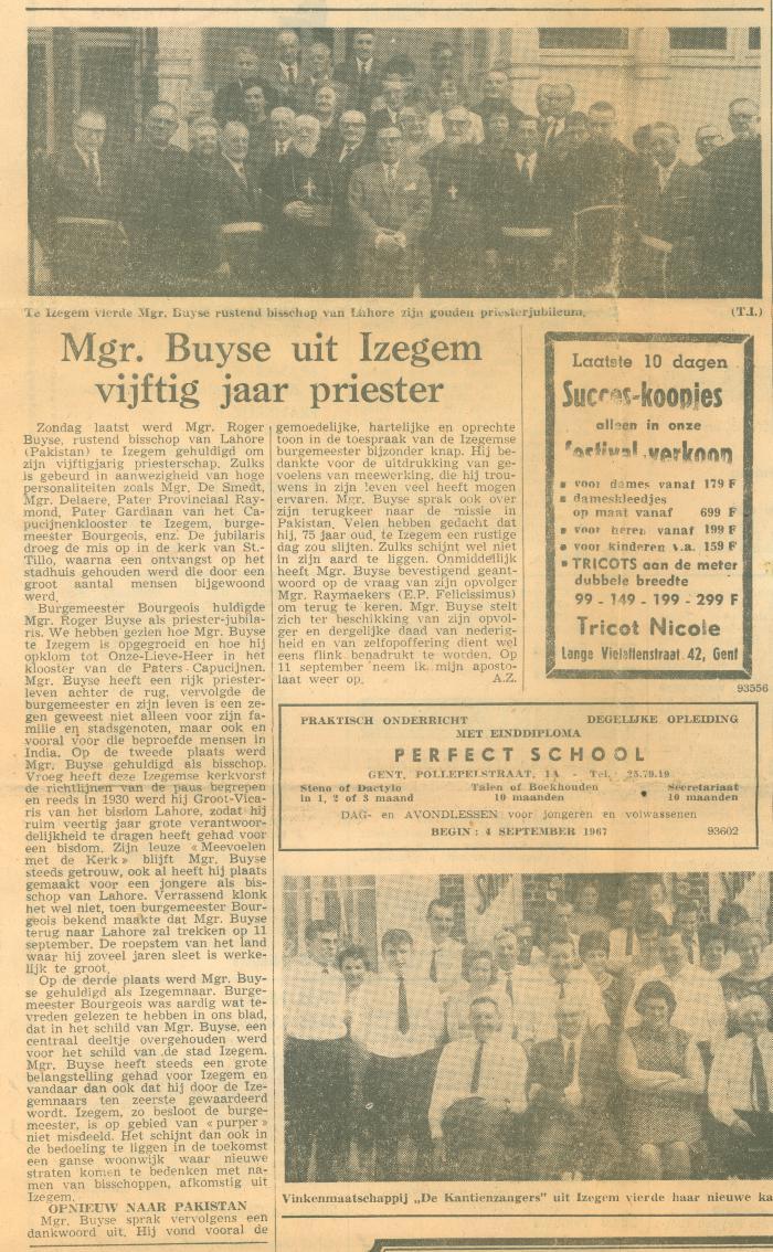 Artikel Monseigneur Buyse, 1967