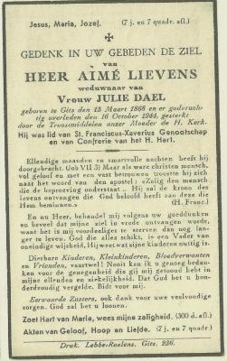 Bidprentje Aimé Lievens